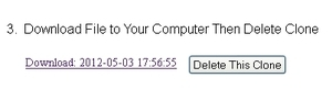 Image of WPTwin WordPress Backup download link