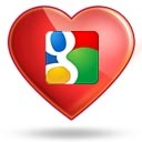 Image of heart with Google icon