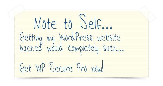 Image of note to self to get WP Secure Pro
